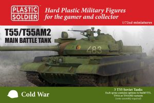 MODV20001  Soviet T-55 Tank. 3 model tanks in the box. Options to build T-55, T-55A or T-55AM